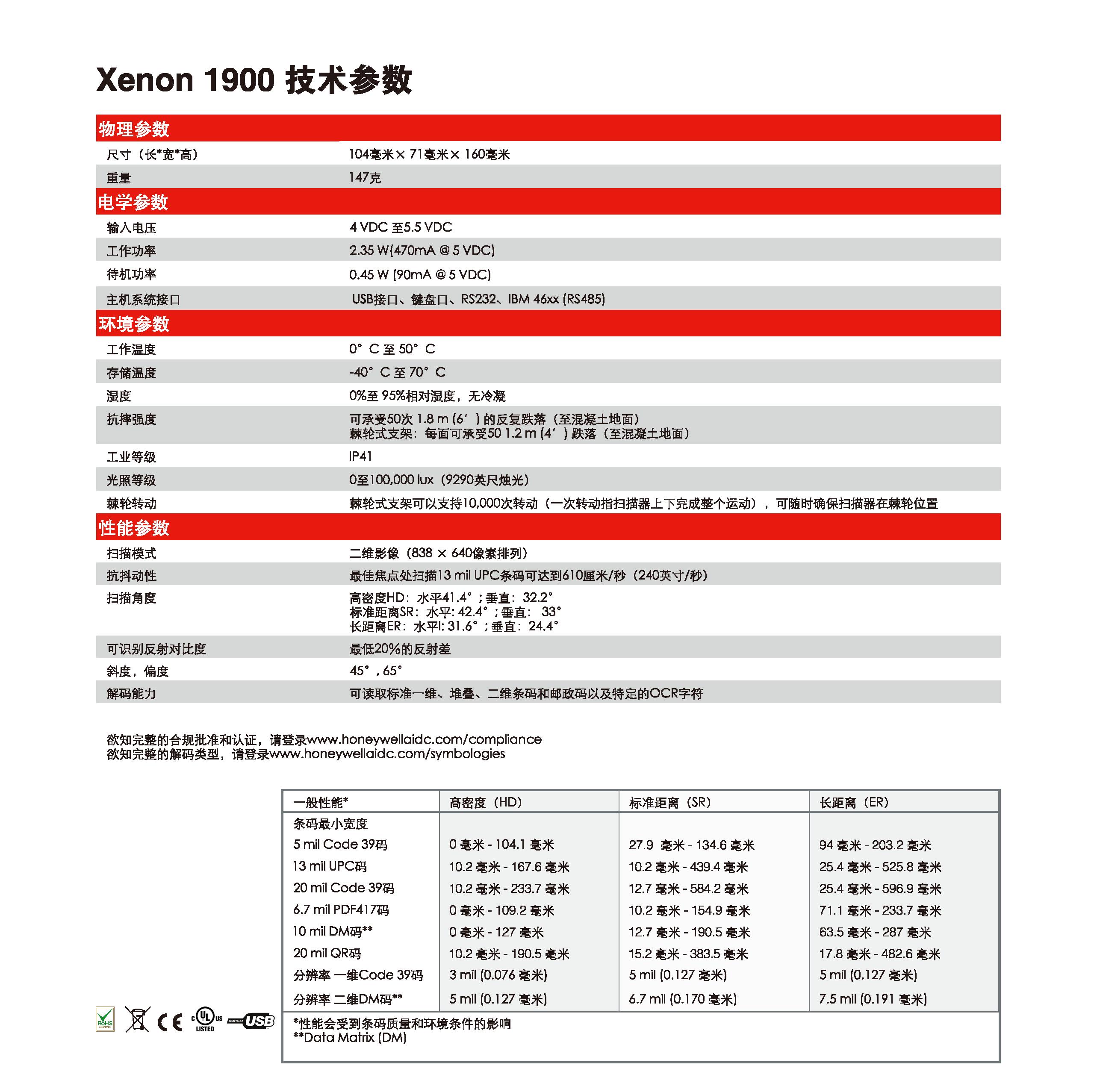 霍尼韦尔 Honeywell Xenon™ 1900 系列二维码扫描器-捷利得(北京)自动化科技有限公司
